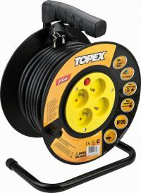 Universal extension cord on reel 25m, 3 x 1.5 mm2, 4 sockets, heat protection