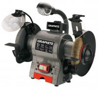 Bench grinder 250W, 230V, 150mm, blade and wire wheel, with working light, stone dresser and tray