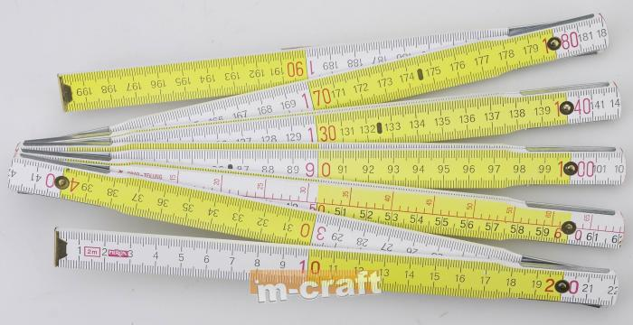 Wooden folding rule - 1 m, white-yellow