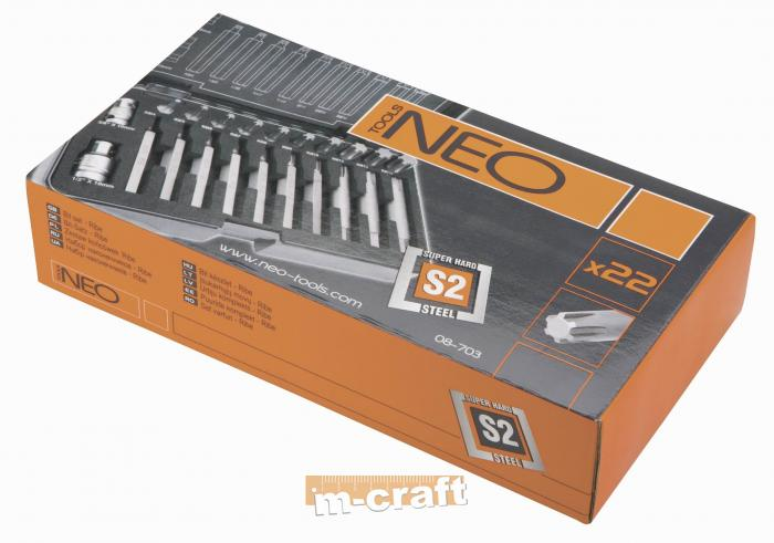 22 pcs High torque ribe power bit set, Neo