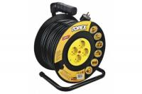 Universal extension cord on reel 50m, 3x1.5mm2, 4 sockets, heat protection