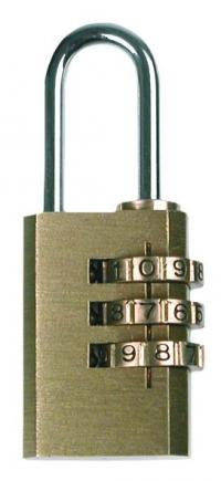 Luggage code padlock, 21mm, 3-digit lock, solid brass